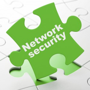 Safety concept: Network Security on Green puzzle pieces background, 3d render